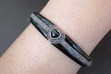 Art Deco period vintage black heart onyx sterling marcasite clamper bracelet