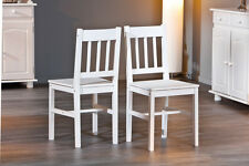 2 Stühle=Set Stuhl Küchen-Stuhl, Esszimmer-Stuhl Palmiro Massivholz Weiß lackier