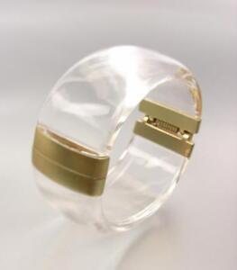 GORGEOUS Urban Artisanal Clear Lucite Mat Gold Hinged Bangle Bracelet