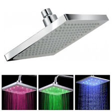 """Modern Chrome 8"""" inch LED Colour Changing Shower Head 12"""" Square Bathroom"""