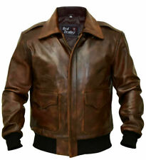 A-2 Mens Aviator G-1 Flight Jacket Brown Distressed Bomber Leather Jacket