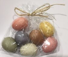 """Set-7 Small Primitive 1.5"""" Easter Robin Eggs_Pastel Speckled Styrofoam_Country"""