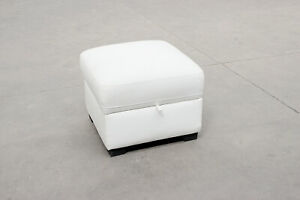 White Leather Hinged Lid Storage Footstool 54 x 54 x 46cm BRAND NEW