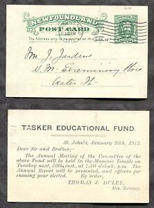 3151 - ST JOHN'S Newfoundland 1912 Local Postcard - Tasker Educational Fund ✉