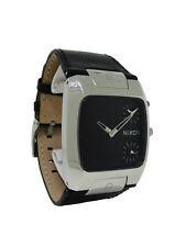 Nixon A086 000 The Banks: Men's Black Analog Dual Time Leather Watch
