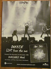 Dokken, Live From the Sun, Full Page Vintage Promotional Ad