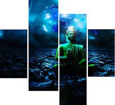 Large 4 Piece Panel Set Wall Art Canvas Pictures Buddha Deep Blue Sea Prints