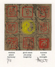 Hand pulled Yin Yang etching print with aquatint, woodblock and rubber stamps