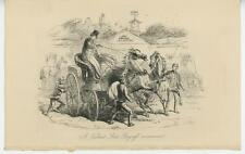 ANTIQUE HORSE EQUESTRIAN CLOCK MAN ANTI PROGRESS MOVEMENT STUCK STAGECOACH PRINT