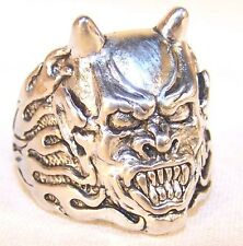 DEVIL BIKER RING BR229 HEAVY silver NEW demon face head men women unisex