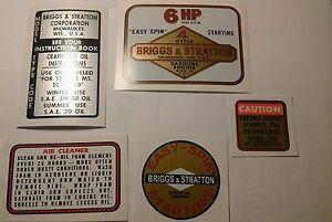 Briggs & Stratton Minibike label 6-hp old school 14 ci 1964-77  Tule Trooper