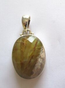 Sterling Silver Pendant - oval shape -natural stone-green beige brown- faceted