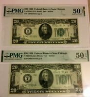 (2) 1928 $20 PMG50 EPQ ABOUT UNCIRCULATED FEDERAL RESERVE NOTE NUMBER #7 CHICAGO