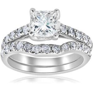 3.Ct Princess Cut Diamond Engagement Wedding Ring Set 14k White Gold Over