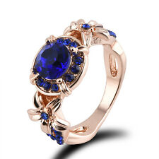 Women Blue Sapphire Rose Gold Filled Engagement Ring Size 5-11 Rings Jewelry New