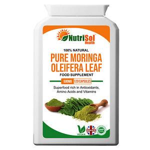 Pure Moringa 500mg 120 Vegan Capsules Superfood Supplement Antioxidant Immune
