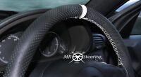 Perforiert Leder Lenkrad Abdeckung für Mercedes SLK R170 96-04 + Weiß Riemen