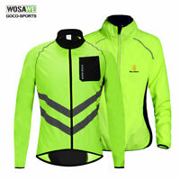 High Visibility Cycling Jacket Hi Vis Windstopper Wind Coat Bike Vest Jersey