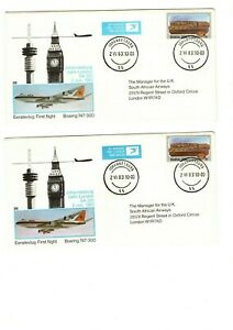 1983 SAL/SAA - 1st FLIGHT JOHANNESBURG-LONDON FDC'S X2 FROM COLLECTION 8C/11