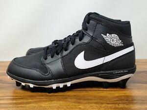 Nike Air Jordan Retro 1 TD Mid Football Cleats Black AR5604-001 Mens Size 10