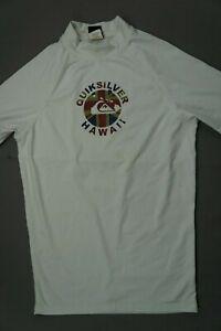 Quiksilver Short Sleeve Surfing Surf Rash Guard. White, Men's Size L. GUC!!
