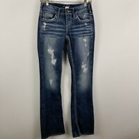 Silver Aiko Boot Cut Distress Destroyed Womens Dark Wash Blue Jeans Size 25x33