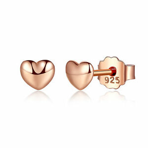 Elegant Women 925 Sterling Silver Petite Hearts Rose Gold Plated Stud Earrings