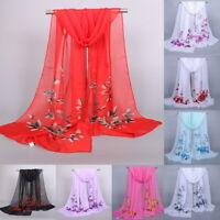 Women's Long Rose Flower Print Chiffon Scarf Soft Wrap Lady Shawl Silk Summer
