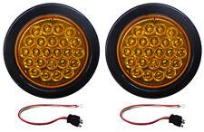 "2 Amber LED Strobe Light 4"" Round Grommets, Pigtails"