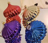Vintage Onion Style Ribbed Red Blue Gold Purple Christmas Ornaments Lot of 4