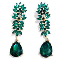 Drag Queen Chandelier Earrings Green Rhinestone Crystal Bridal Prom Pageant 2.6