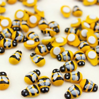 100X Mini Bees Self Adhesive Wooden Bumble Ladybug Crafts Card Toppers 9x12mm