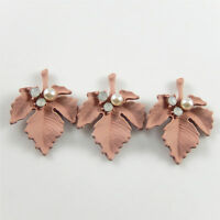 Chic Maple Leaf Shaped Jewelry Crafts Alloy Pearl Charms Pendants Findings 10pcs