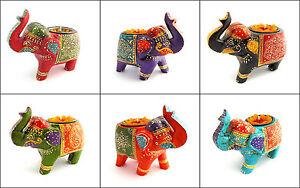 Elephant Tea Light Holder, Fairtrade, Wooden, Handpainted, Tea Light Included