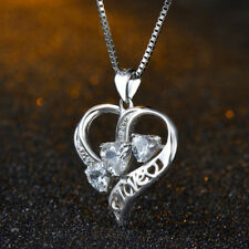 "New 925 Sterling Silver Heart Love Micro Pave Crystal Pendant Necklace 18"" Chain"