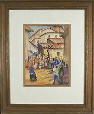 "Fidel Figueroa Crucifixion Scene Signed Watercolor Framed 23 1/2""x19 1/2"""