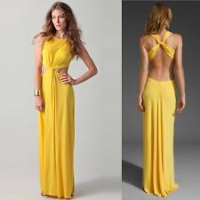 NEW BCBG MAXAZRIA MAXI DRESS GOWN YELLOW OLESYA CUT OUT WOMEN'S CLOTHING LARGE L