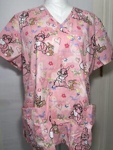 Disney Thumper Miss Bunny Women's Pink Medical Scrub Top Sz Large VGC Free Ship