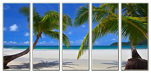 Tropical Palm Trees on Beach Photo Art on Canvas Framed and Ready to Hang Decor