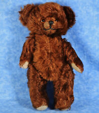 "Antique 1930s 13"" Mohair Jointed Teddy Bear, Glass Eyes"