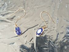 Tanzanite Lab Created Oval Cut Dangle Earrings 10kt Solid Yellow Gold