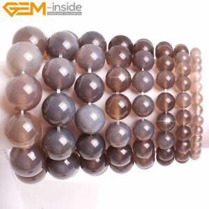 "Natural Gray Agate Round Stone Beaded Jewelry Bracelet 7"" Gift Women Men 10mm"