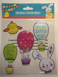 NEW FOIL Spring Easter Bunny Chicks Hot Air Balloons Window Sticker Clings 5 pc!