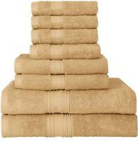 Towel Set 8Pc Premium College Dorm Spa Top Quality 700 GSM 2 Bath 2 Hand 4 Wash