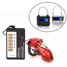 Electric Shock Chastity Cage Stretcher BDSM Timer Lock Belt Electro Ring Male