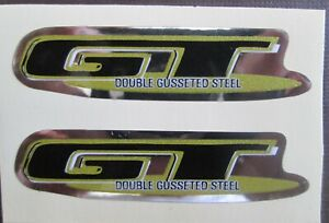 """Set of 2 """" GT DOUBLE GUSSETED STEEL Stickers BLACK/GOLD/CHROME FREE SHIPPING"""