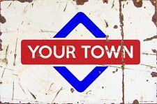 Sign Harbour Island Aluminium A4 Train Station Aged Reto Vintage Effect