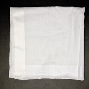"Hand Rolled Mens Cotton Pocket Square 17"" White on white Block Stripe Border TV"