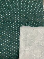"""12 1/2"""" x 28"""" Vintage Double Sided Quilted Cotton Green Floral w/White 70s - 90s"""