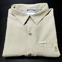 Columbia Mens Large L Short Sleeve Button Front Pocket Check Camp Shirt